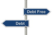 debt or debt free sign