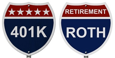 401k and roth signs